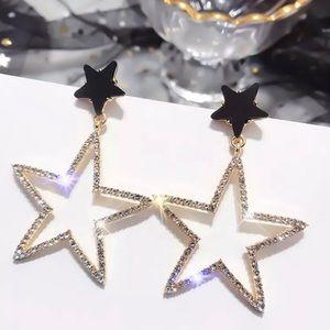 Hollow Star Crystal Stud Drop Dangle Earrings